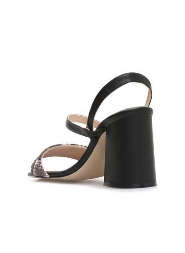 George Hogg 7004782 Yılan Baskı Kadın Sandalet Siyah